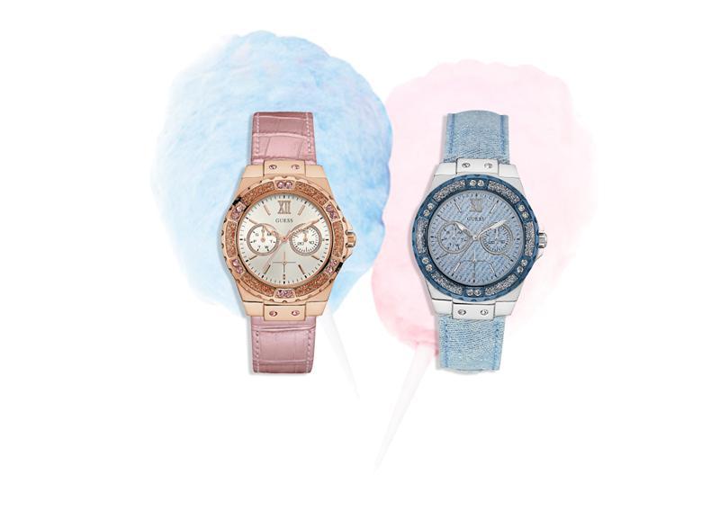 Softes Rosé, luftiges Hellblau und glitzernde Swarovski-Kristalle prägen den coolen Look dieser trendigen Uhren