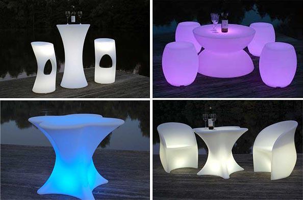 Led-Möbel Sitzgruppen, Barhocker und Tische