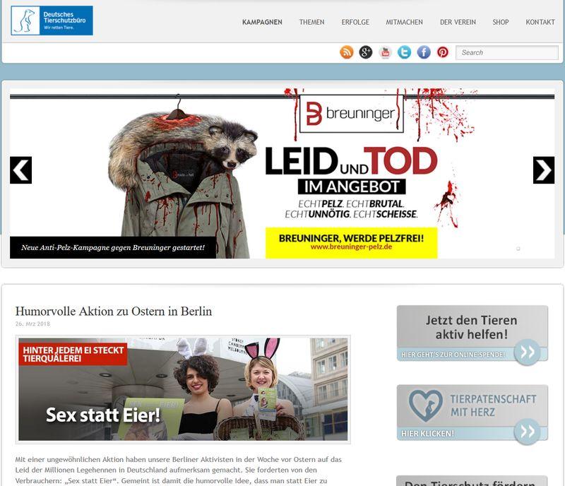 Website der Tierschutz-Aktivisten