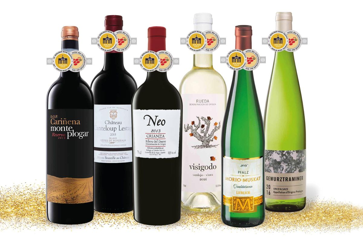 Das abgebildete Paket mit sechs Goldmedaillengewinnern sowie weitere bei der Berliner Wein Trophy prämierte Weine sind im Mai 10 Prozent reduziert.