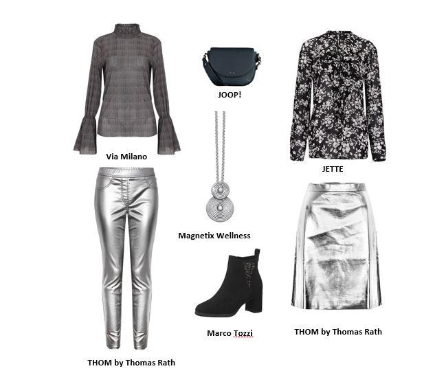 Festlich kann schon ein silberfarbener Metallic-Rock oder eine -Hose in Kombination mit einer schönen Bluse sein