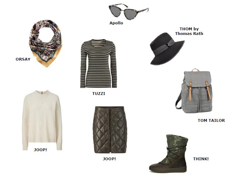 Coole Accessoires wie Sonnenbrille, Rucksack und Stiefel in Wander-Optik sind hier eindeutig die Highlights