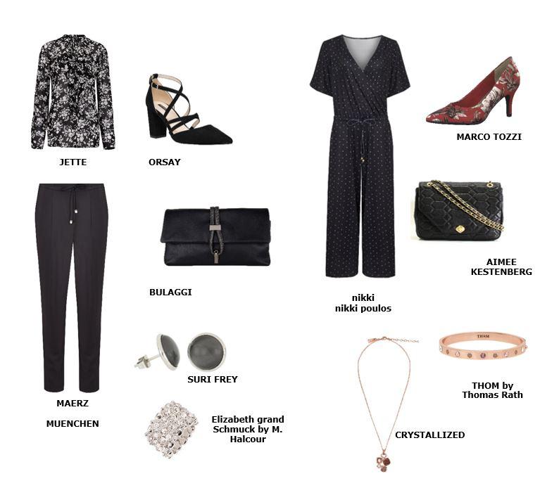 Der All-Black-Look kann außerdem mit anderen gedeckten Tönen, Mustern oder Verzierungen ganz leicht aufgebrochen werden.