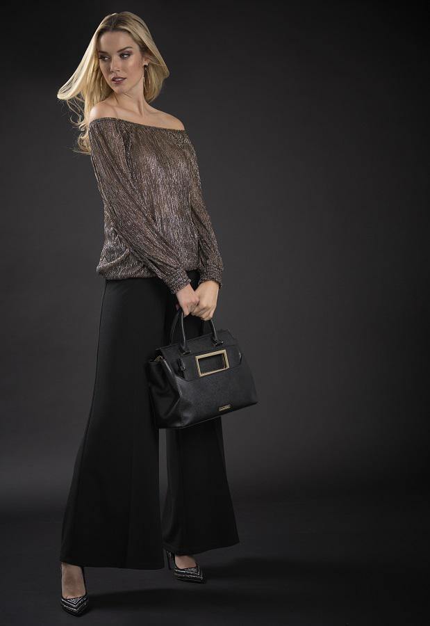 Eine starke Alternative zum Kleid mit passender Handtasche von Joseph Ribkoff
