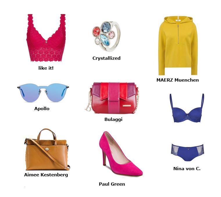 Farbenfrohe Taschen, randlose Sonnenbrillen und bunter Schmuck
