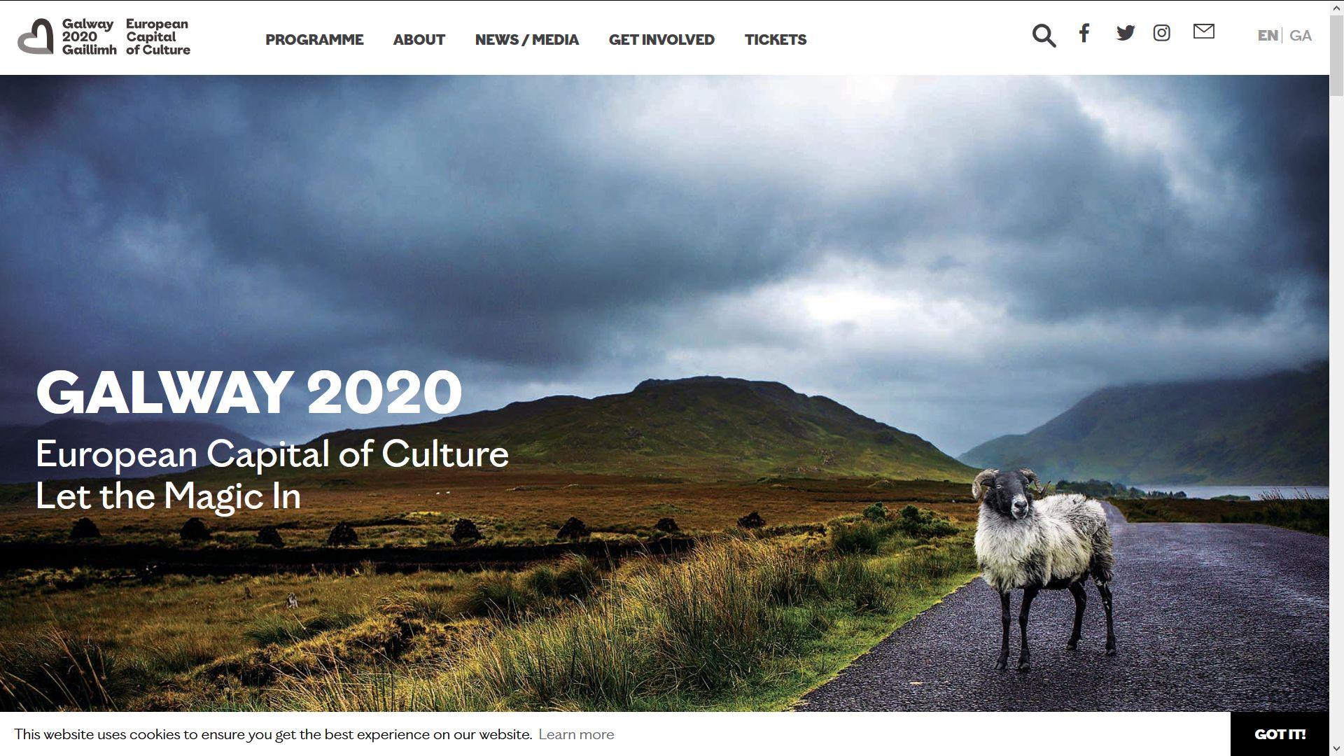 Screenshot Website Galway Festival 2020 Irland