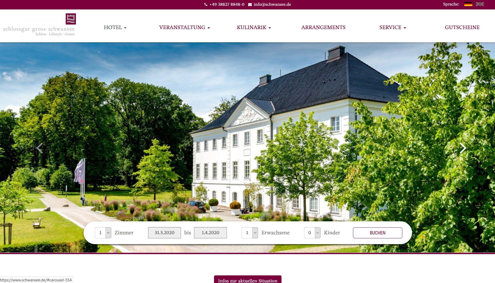 Screenshot Website schlossgut
