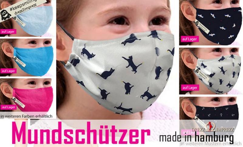 Lustige Motive auf dem Mundschutz für Kids