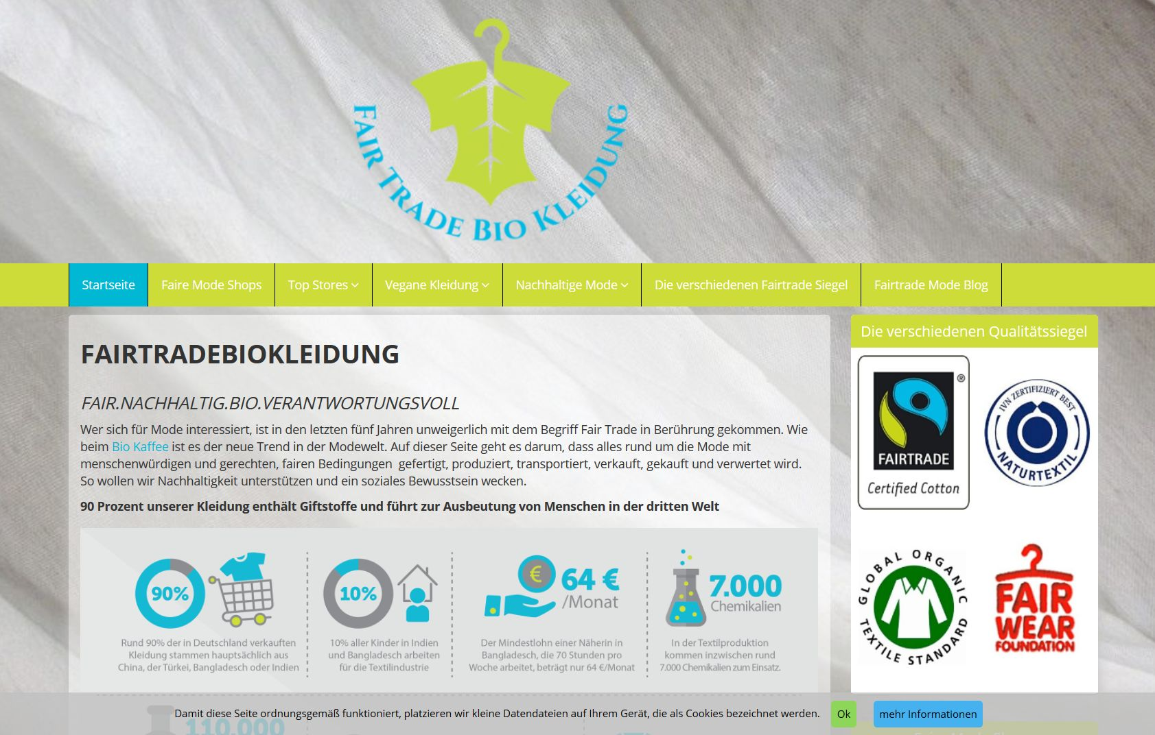 Screenshot Website Fashion Fairtrade