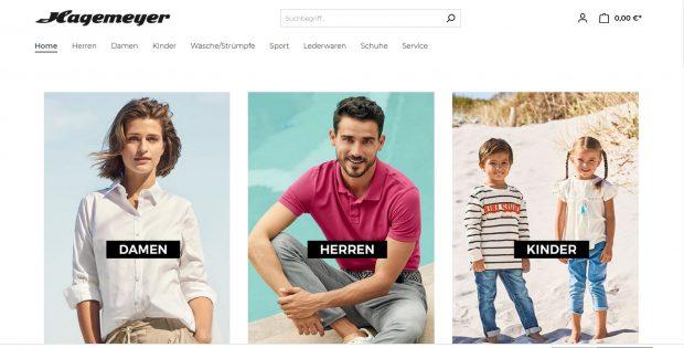 Screenshot Website Shop von Hagemeyer
