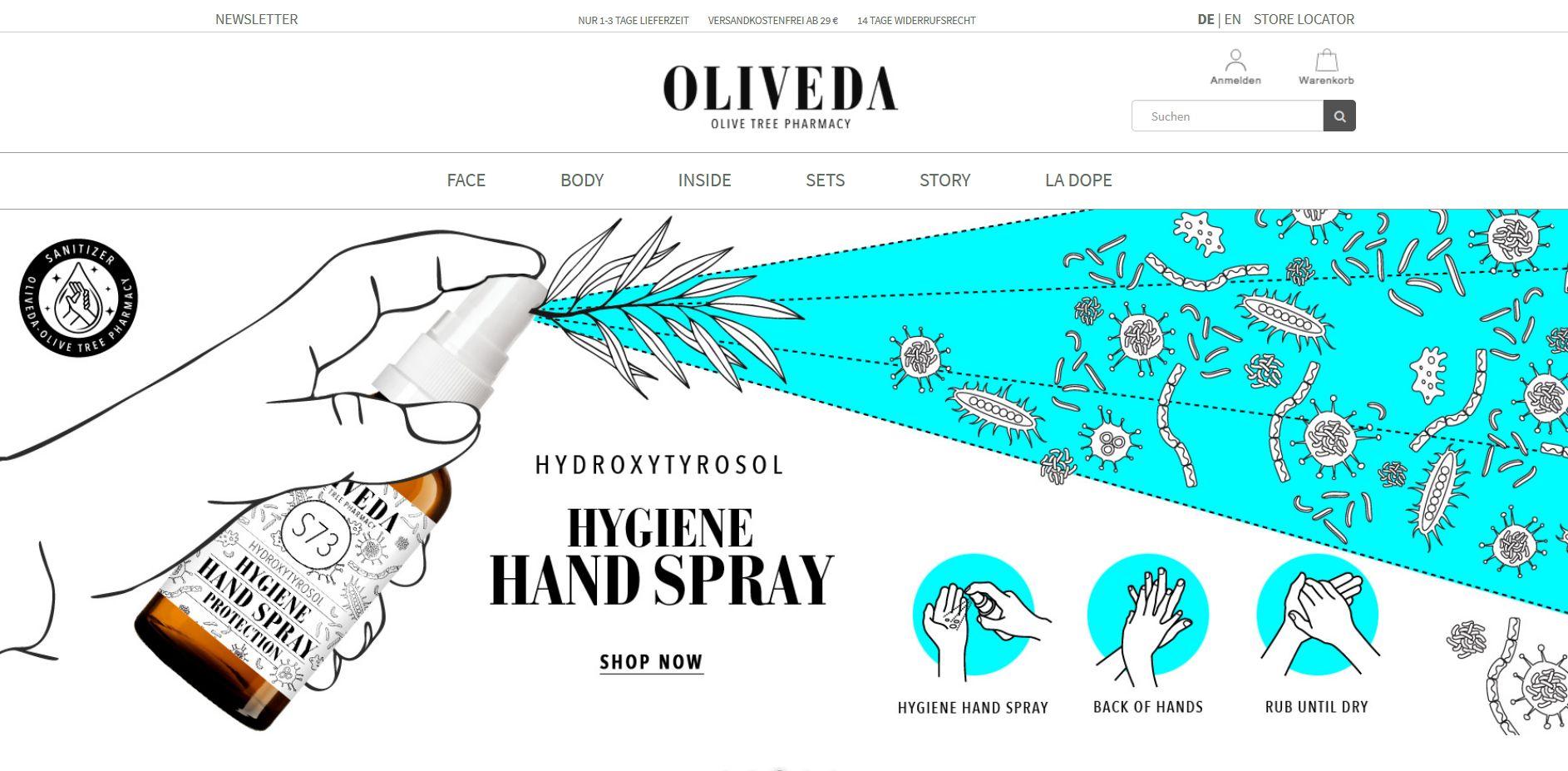 Screenshot Website Oliveda