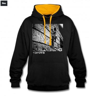 Buildering-Spots-Hoodie black/yellow Logo (© Buildering-Spots)